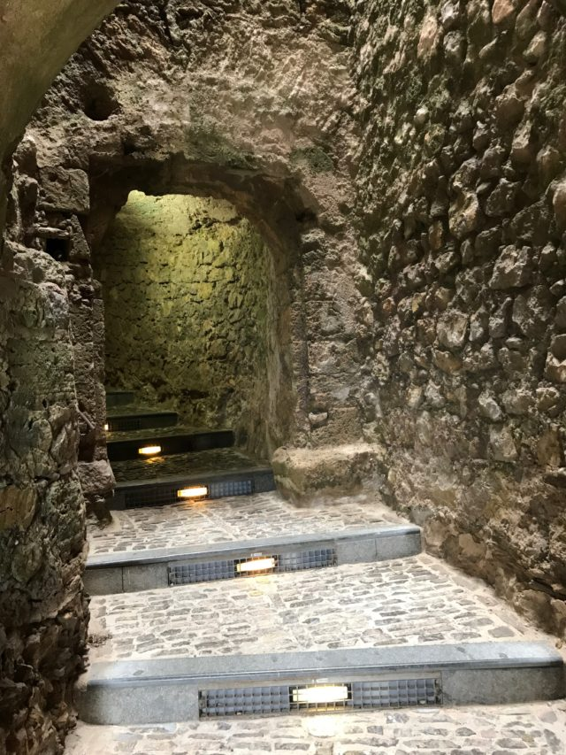 Curved Tunnel With Stairs In Cobblestone Castle