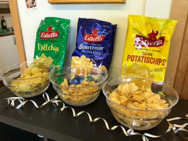 Bags Of Chips Lined Up In Bowls At Party