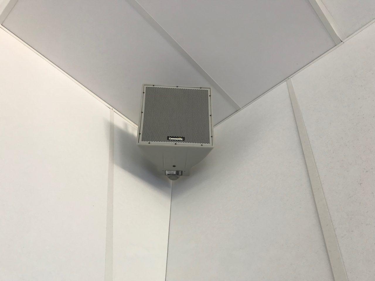 Square Corner Ceiling Stereo Speaker On Wall