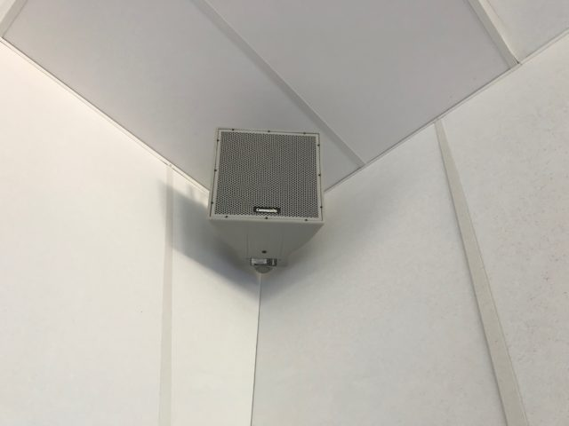 Square Corner Ceiling Stereo Speaker On Wall