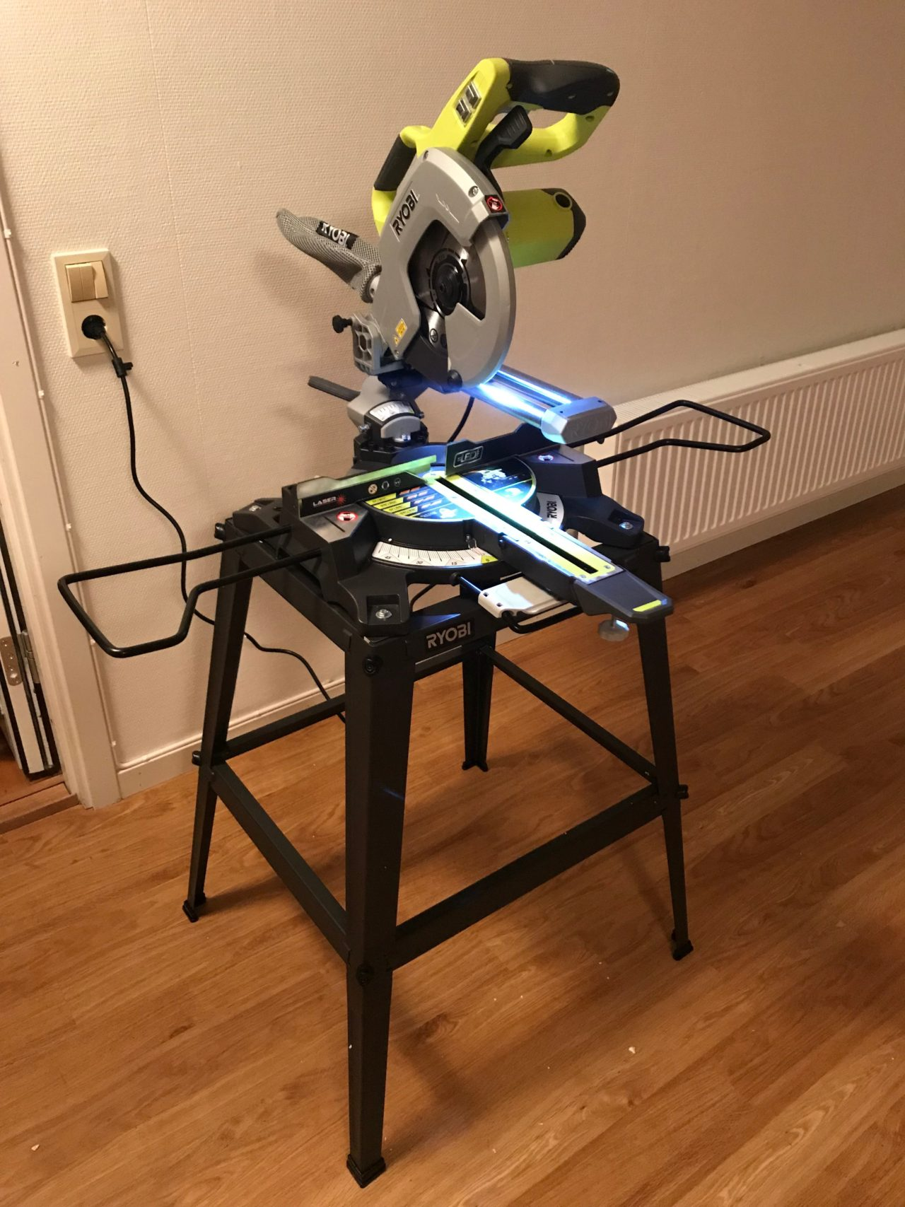 Power Tool Cutting Saw On A Stand