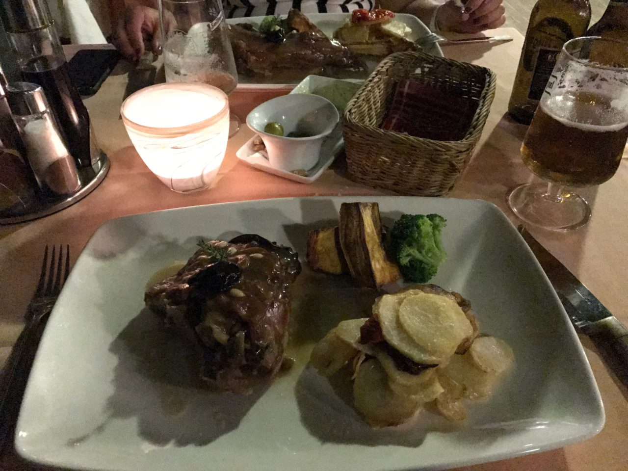 A Plate Of Steak And Potatoes On A Candle Lit Table
