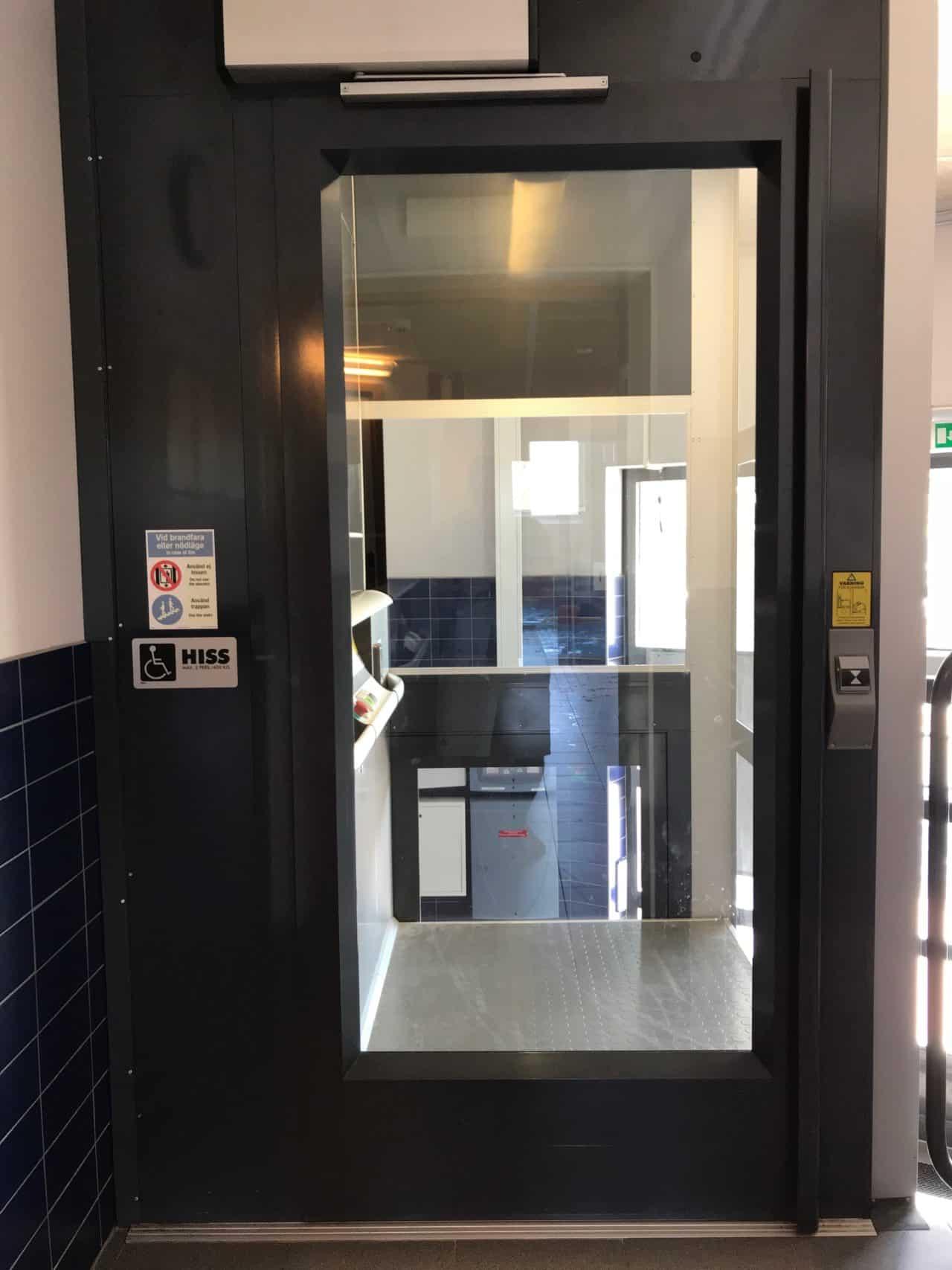 Closed Elevator Glass Door On Top Floor