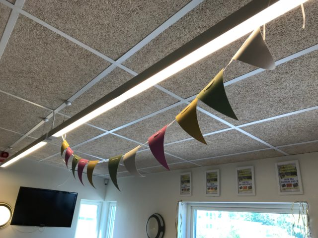 Party Flags On A String In The Ceiling