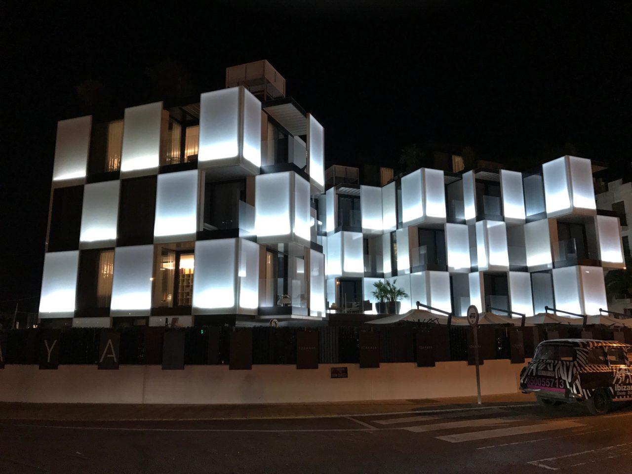Glowing Futuristic Square Hotel Window Lights