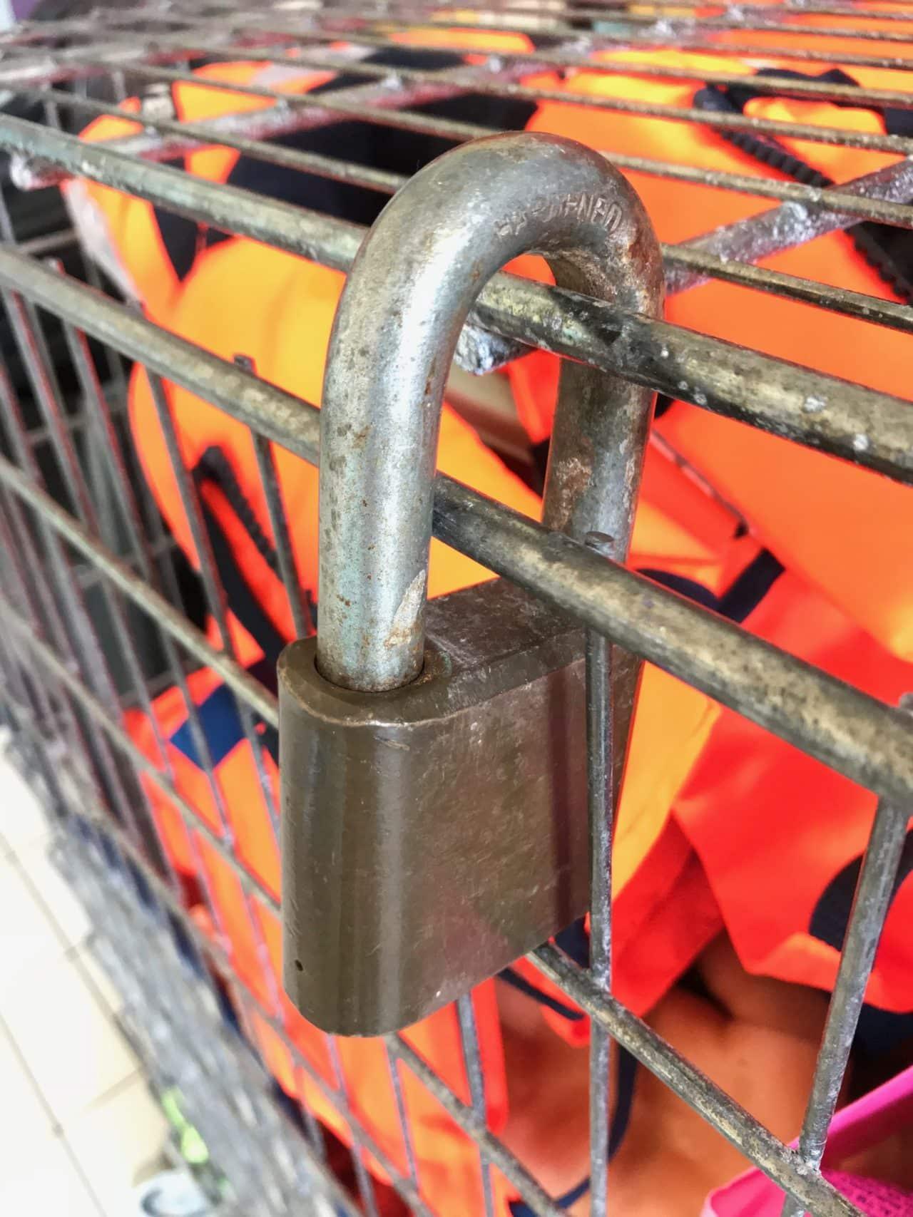 Locked Grating Box Keeping Lifevests Secure