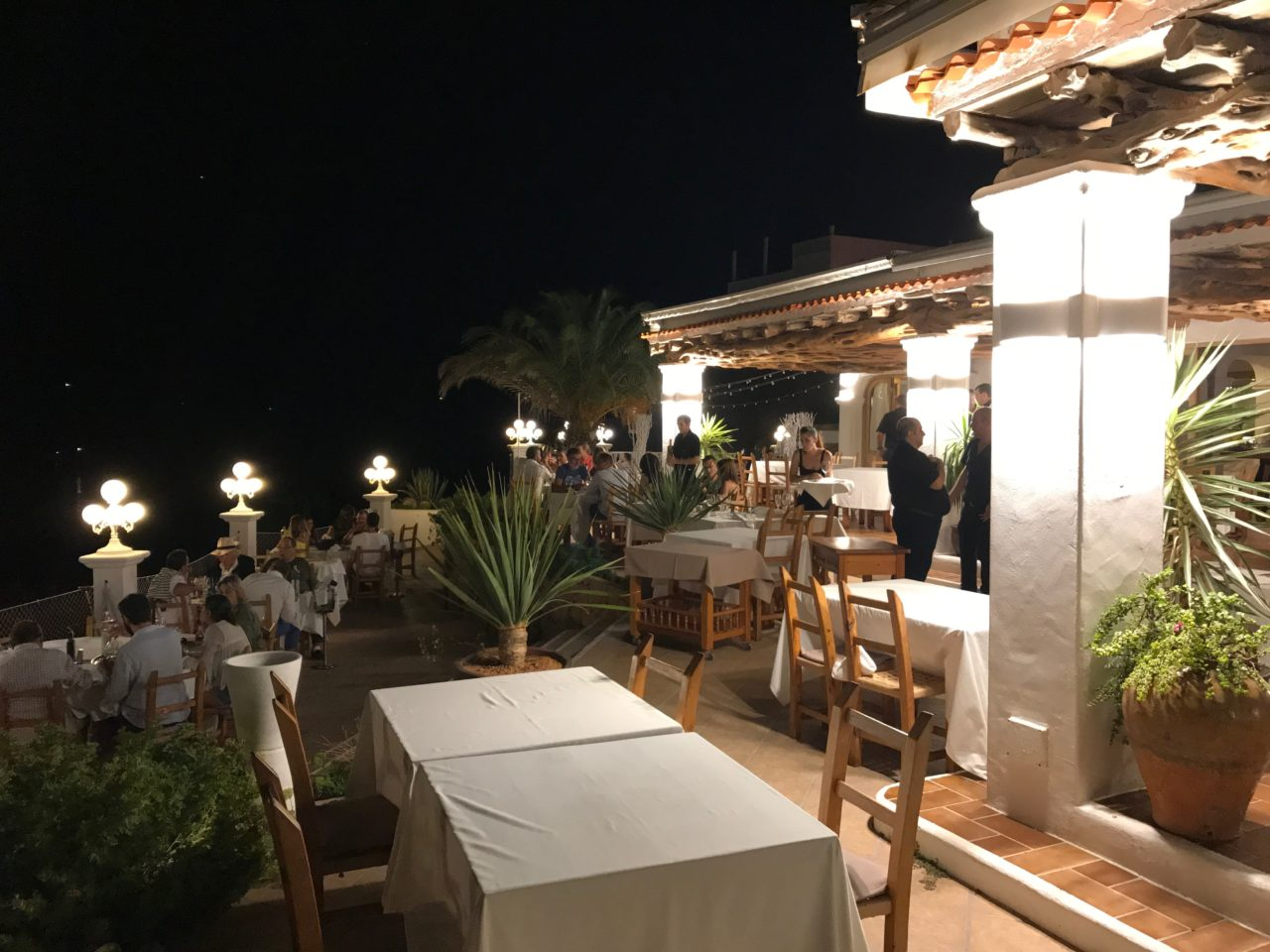 Luxurious Clifftop Restaurant With Tables And People