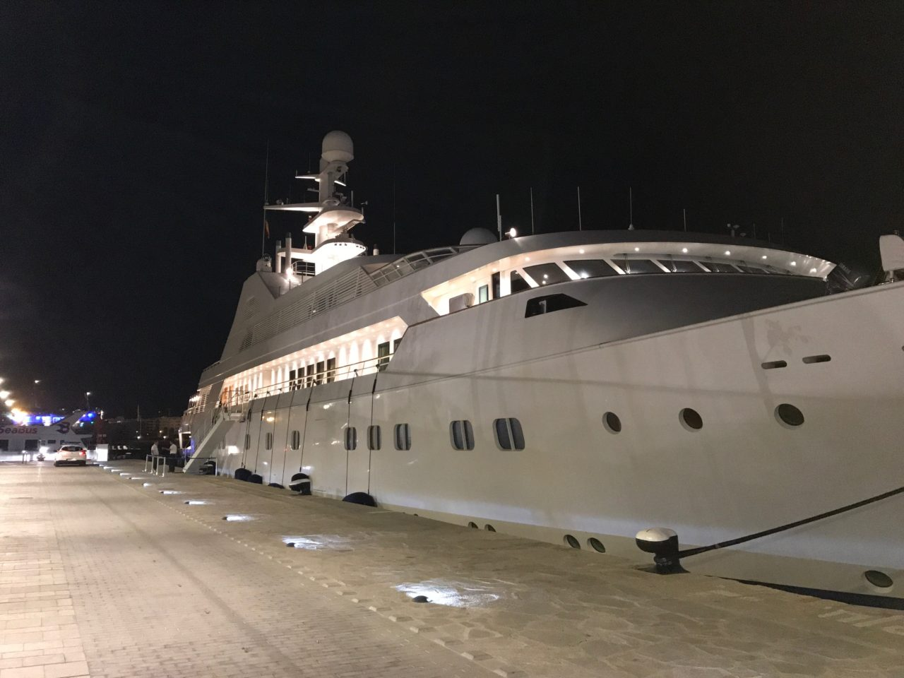 Massive Luxury Yacht Boat Tied To A Dock