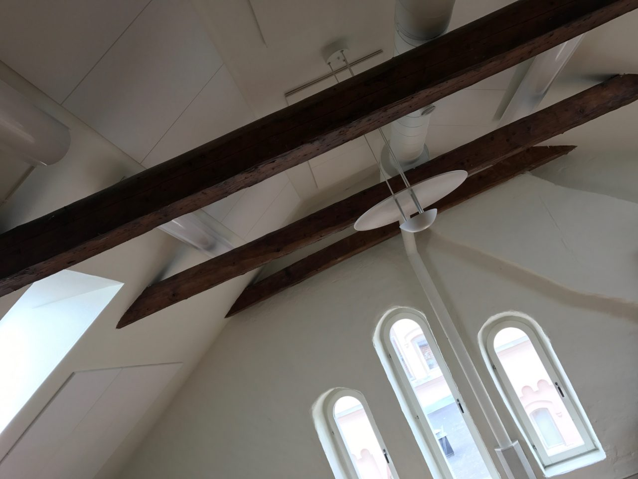 Sloped Penthouse Ceiling Beams And Windows