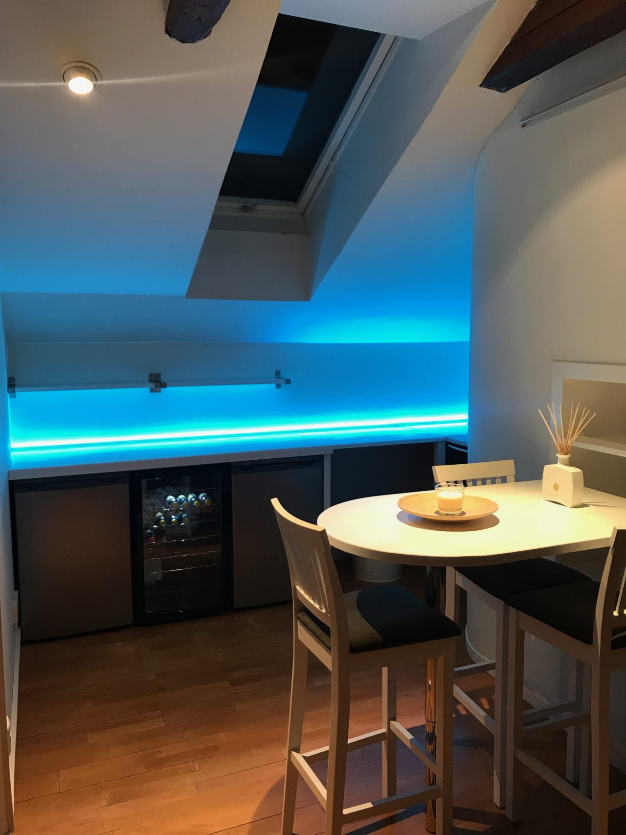 Penthouse Kitchen Table With LED Lights On The Counter Top