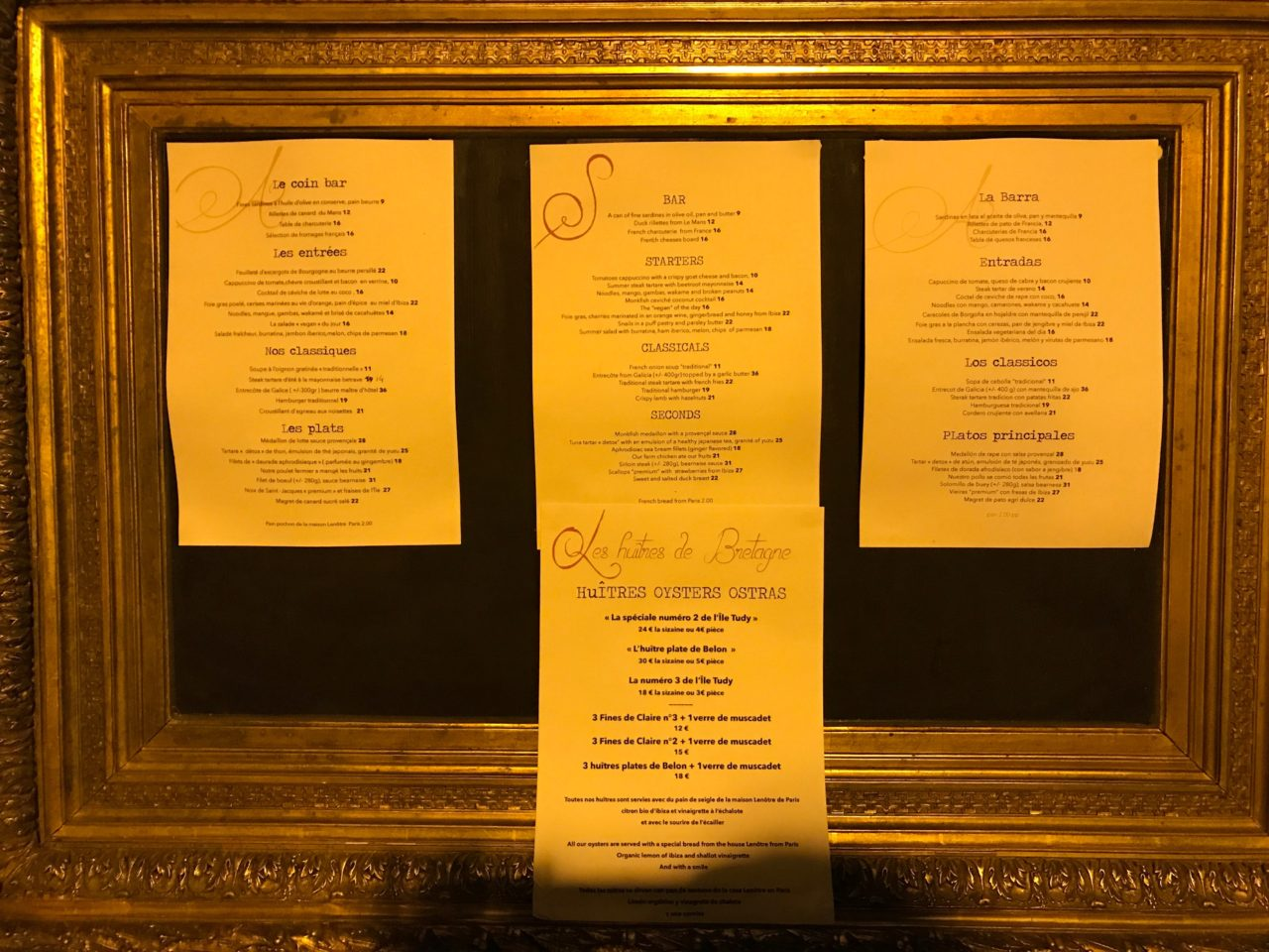 Restaurant Dinner Menu In A Golden Frame