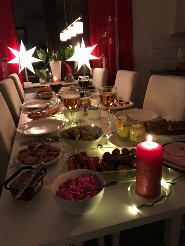 Swedish Christmas Dinner Table With Candles And Lights