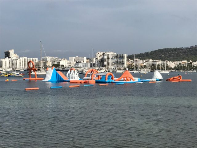 Fun Waterpark With Inflatables In The Harbor