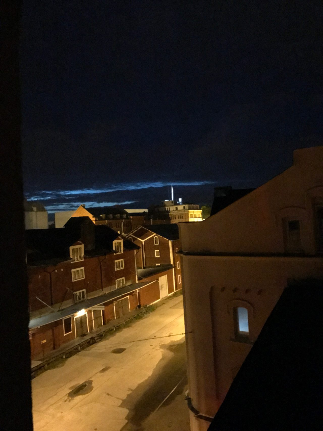 Winter Landscape At Night With Roof View