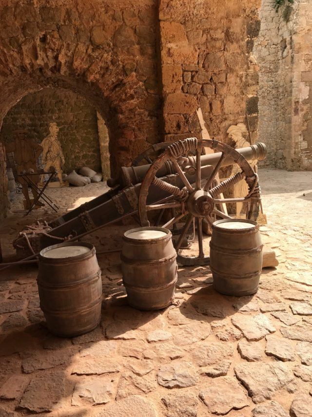 Old Canon With Barrels In Castle