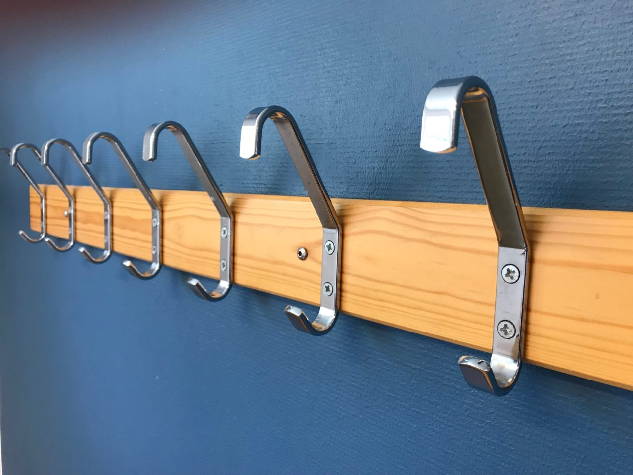 Chrome Clothes Hangers On Blue Wall