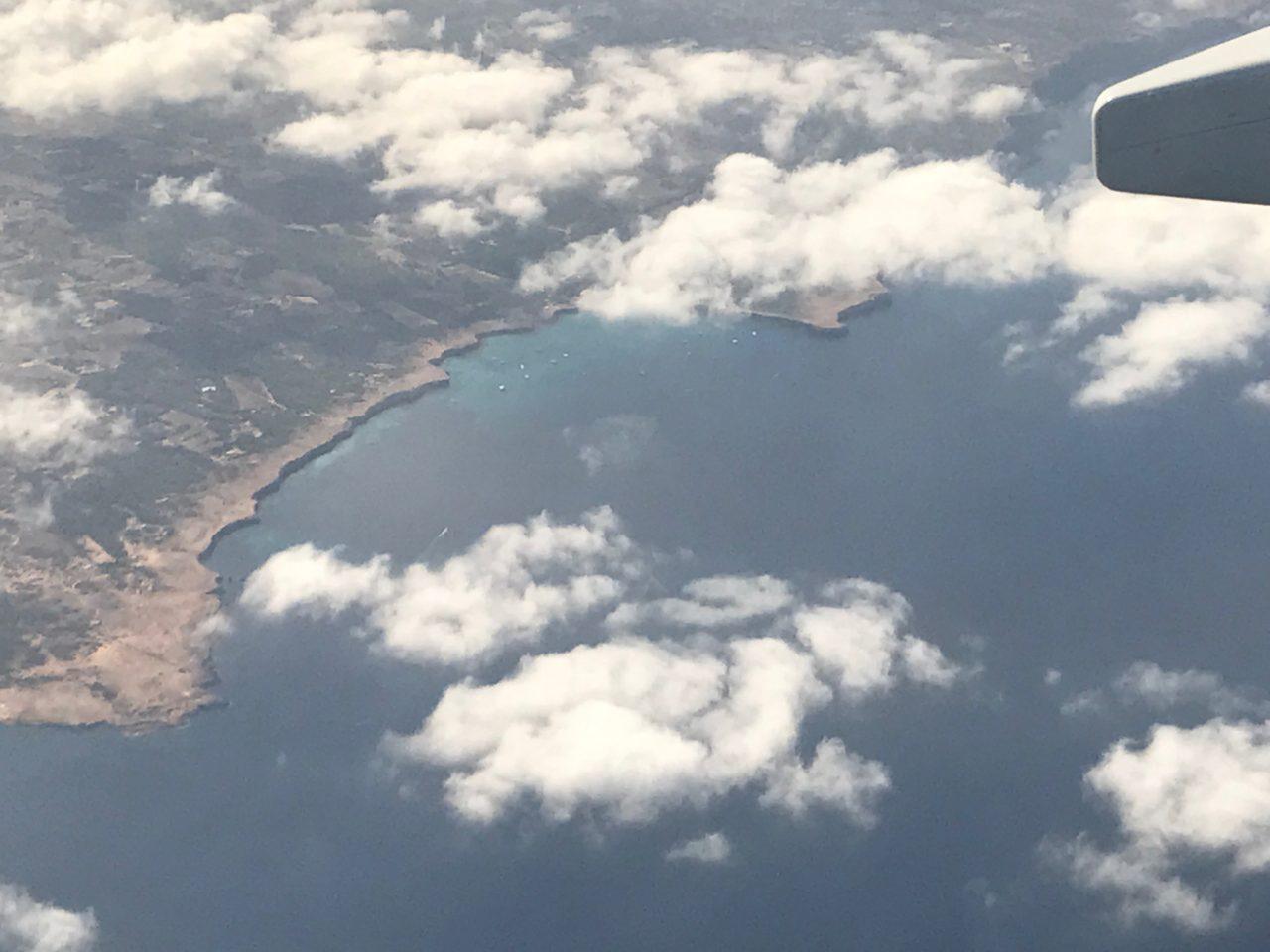 Aerial Plane View Of Ibiza Coast
