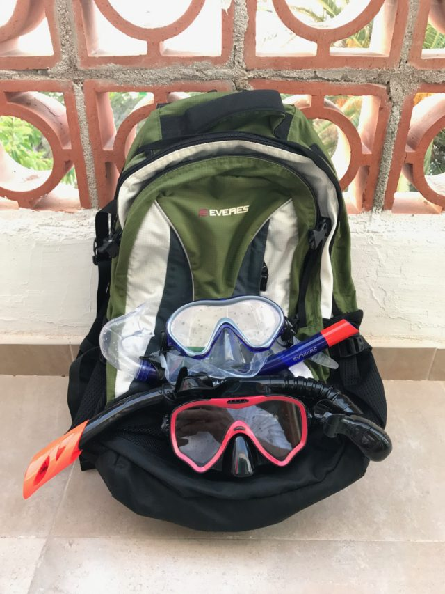 Diving Gear On Backpack By Fence