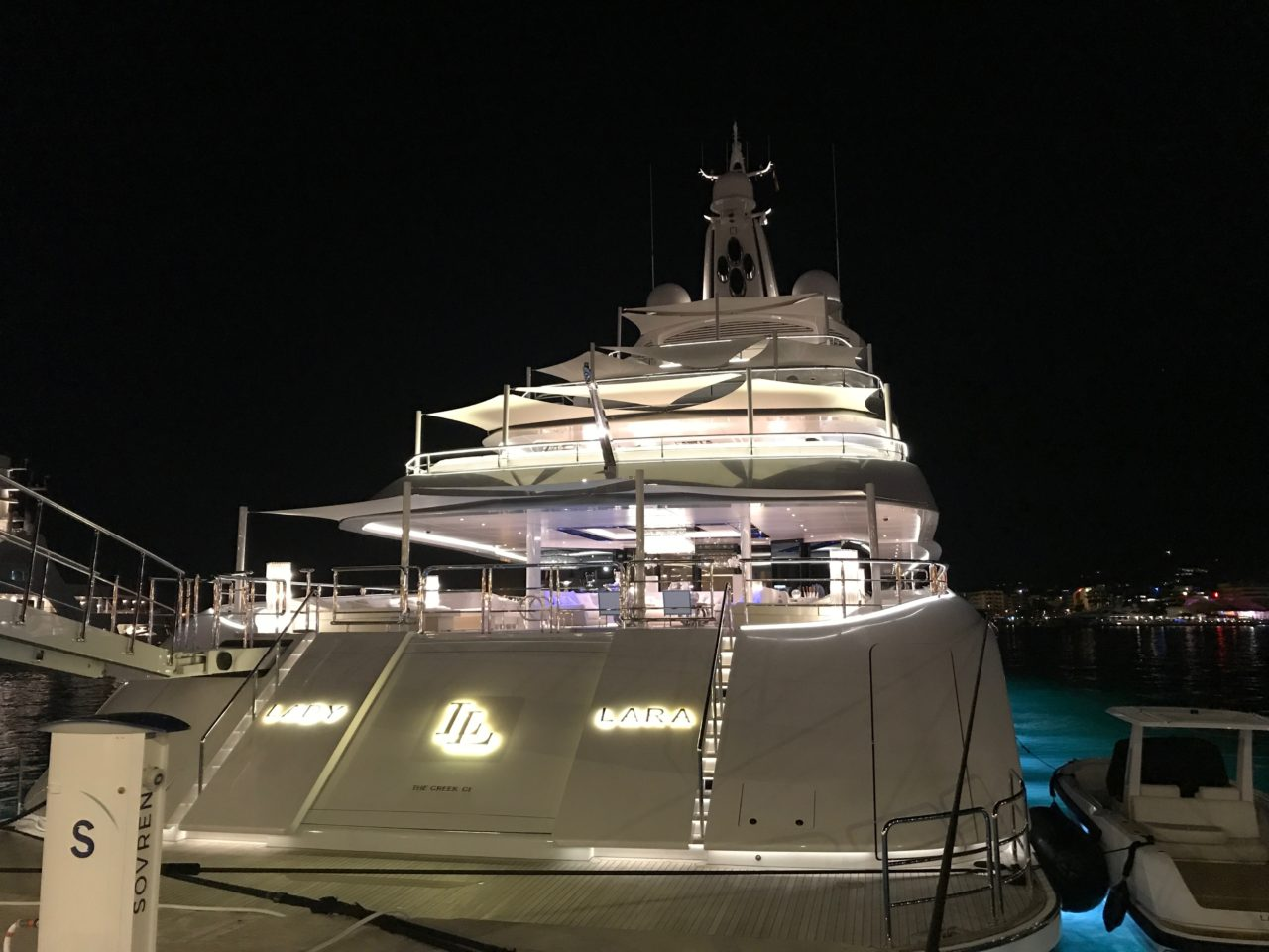 Rear Super Yacht Docked In Harbor In Ibiza