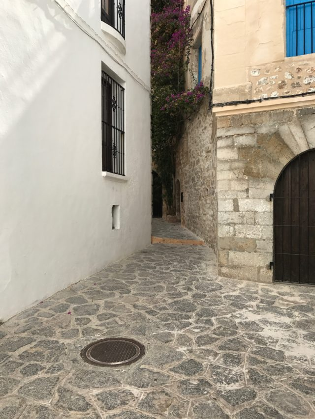 Narrow Alley Walkway In Old City In Ibiza