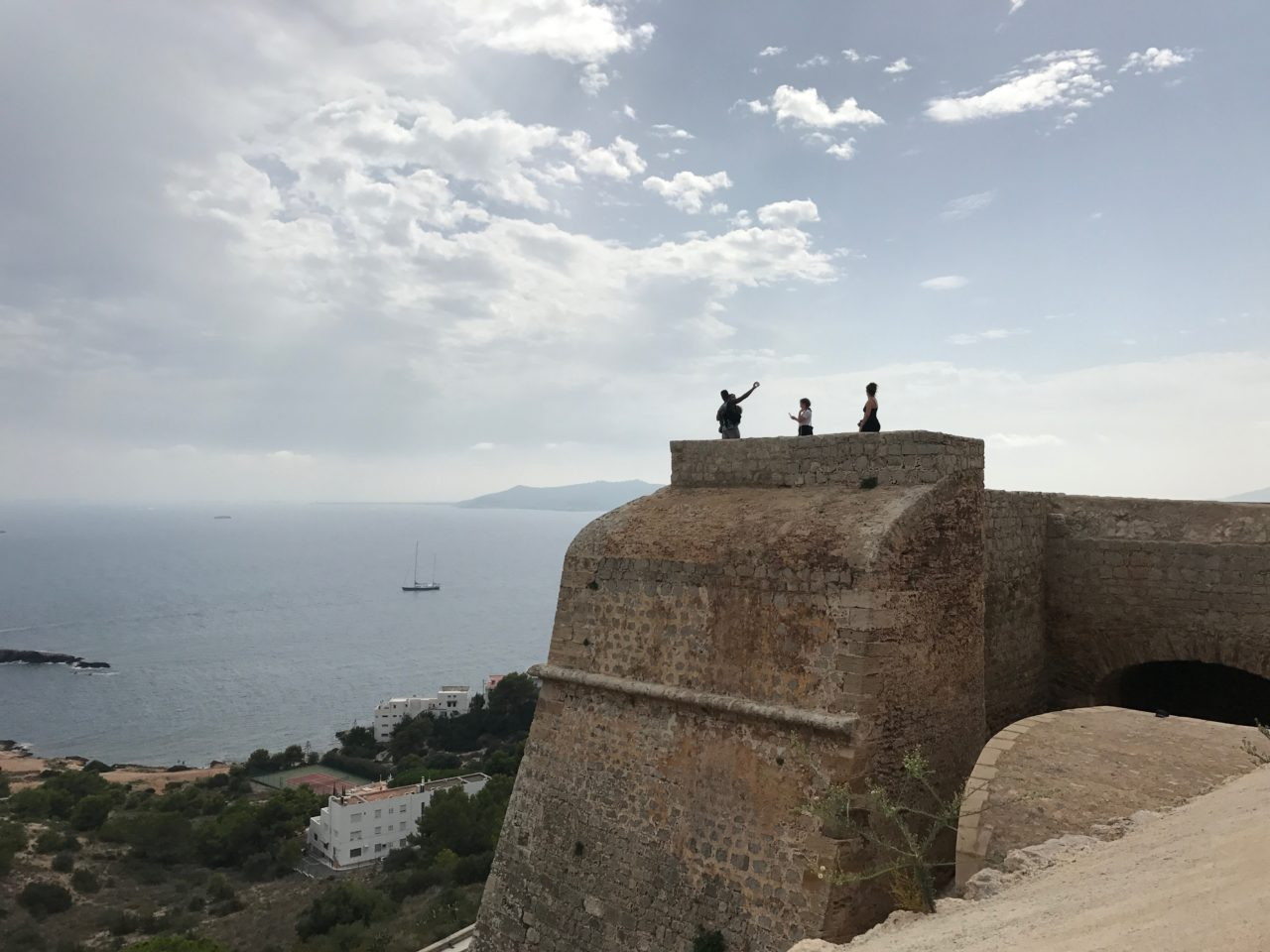 Castle Wall With Outlook And People Taking Selfies