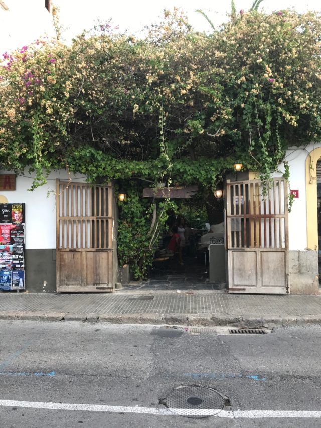 Small Vine-Decorate Restaurant Entrance On Street