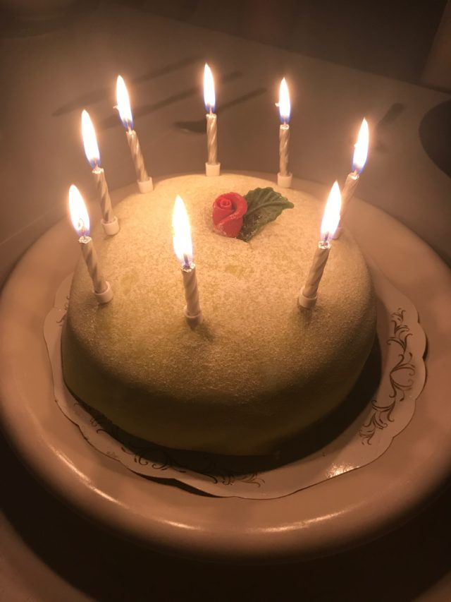 Green Marzipan Cake With A Rose And Leaves And Burning Birthday Candles On A White Plate