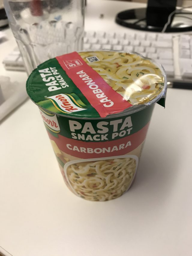 Fast Food Pasta Snack Pot On Office Desk