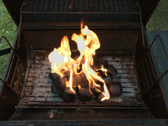 Coal On Fire In Barbecue Grill