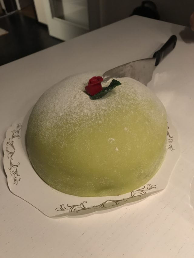 Marzipan Cake With A Rose And Leaf