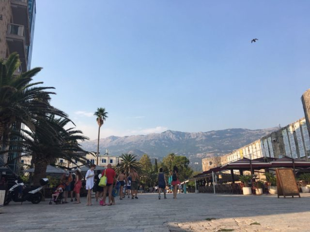 People On The Street With Palm Trees In Montenegro