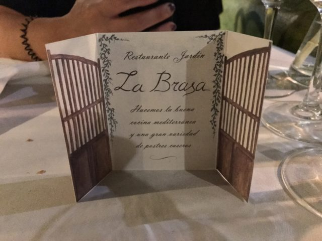 Brochure At La Brasa Restaurant In Ibiza