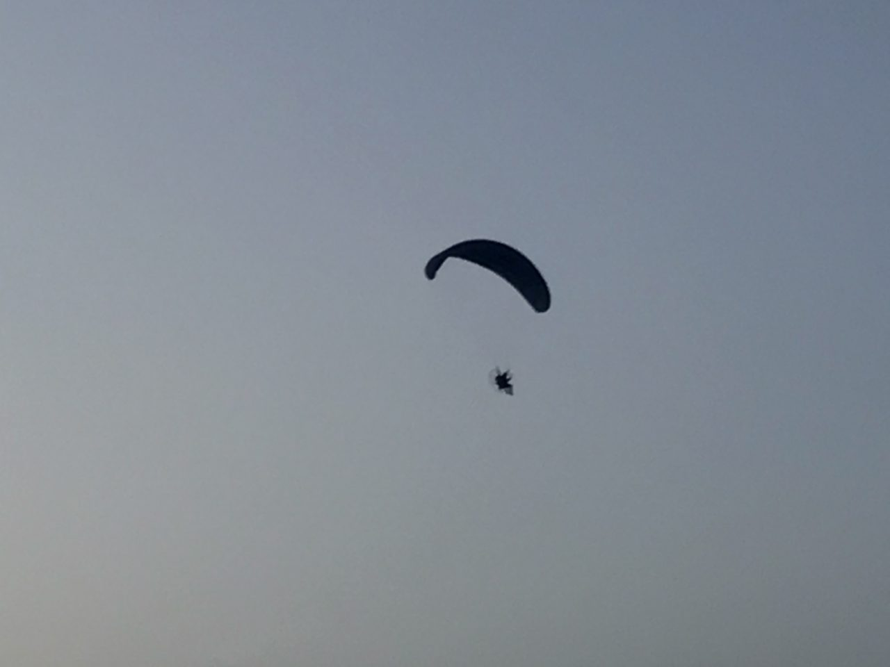 Skydiver Flying In A Clear Blue Sky Evening
