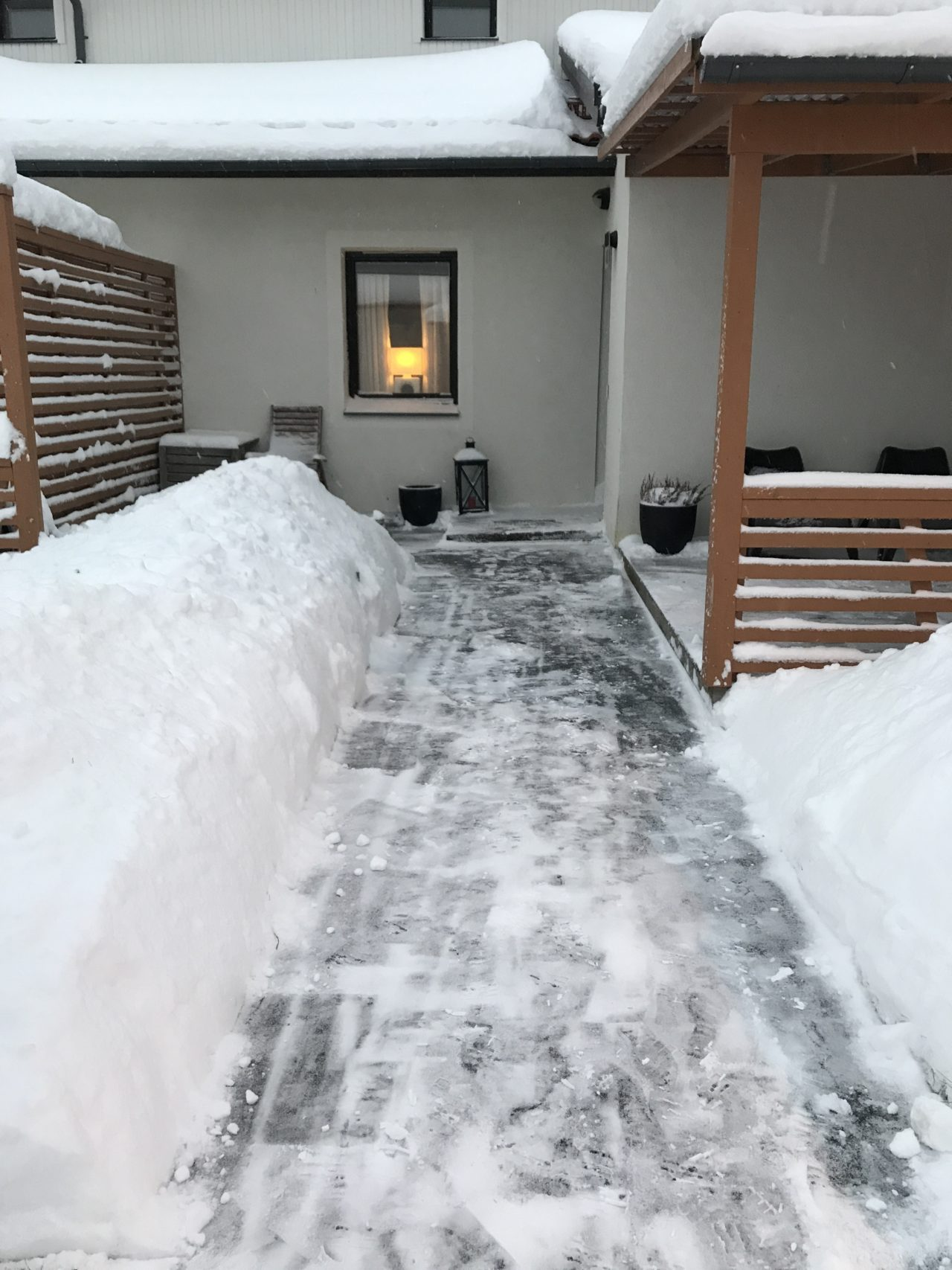 Cleared Path In The Snow To The Front Door Of A House