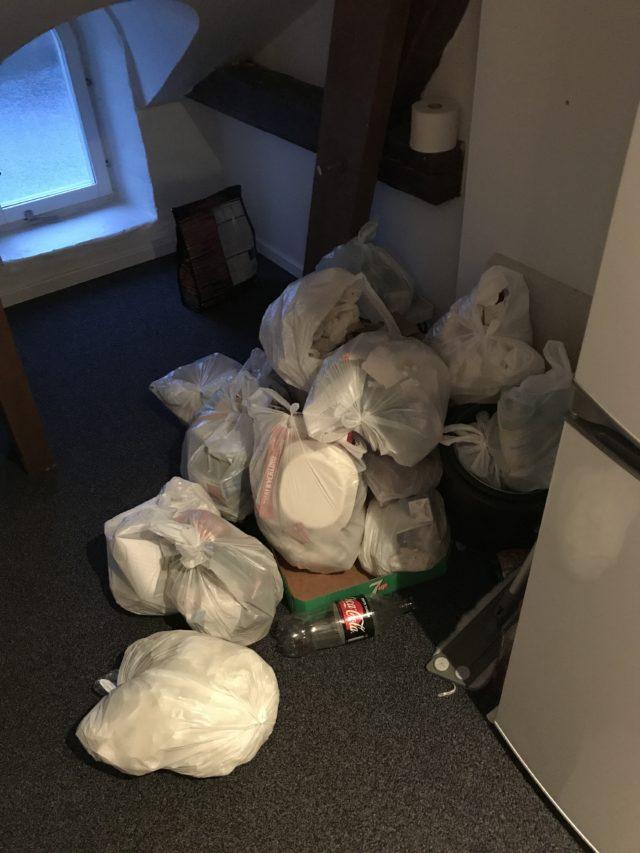Big Pile Of Plastic Garbage Bags On The Floor