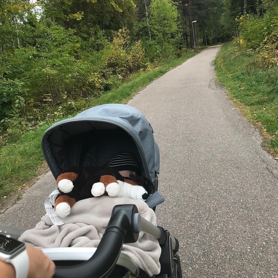 De-Stressing Walk With Pram In The Summer