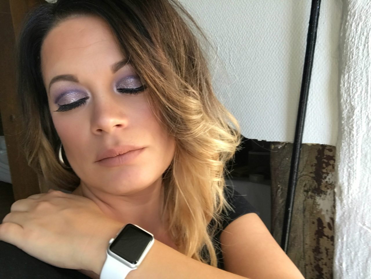 Tired Woman With Cut Crease Makeup Closes Her Eyes