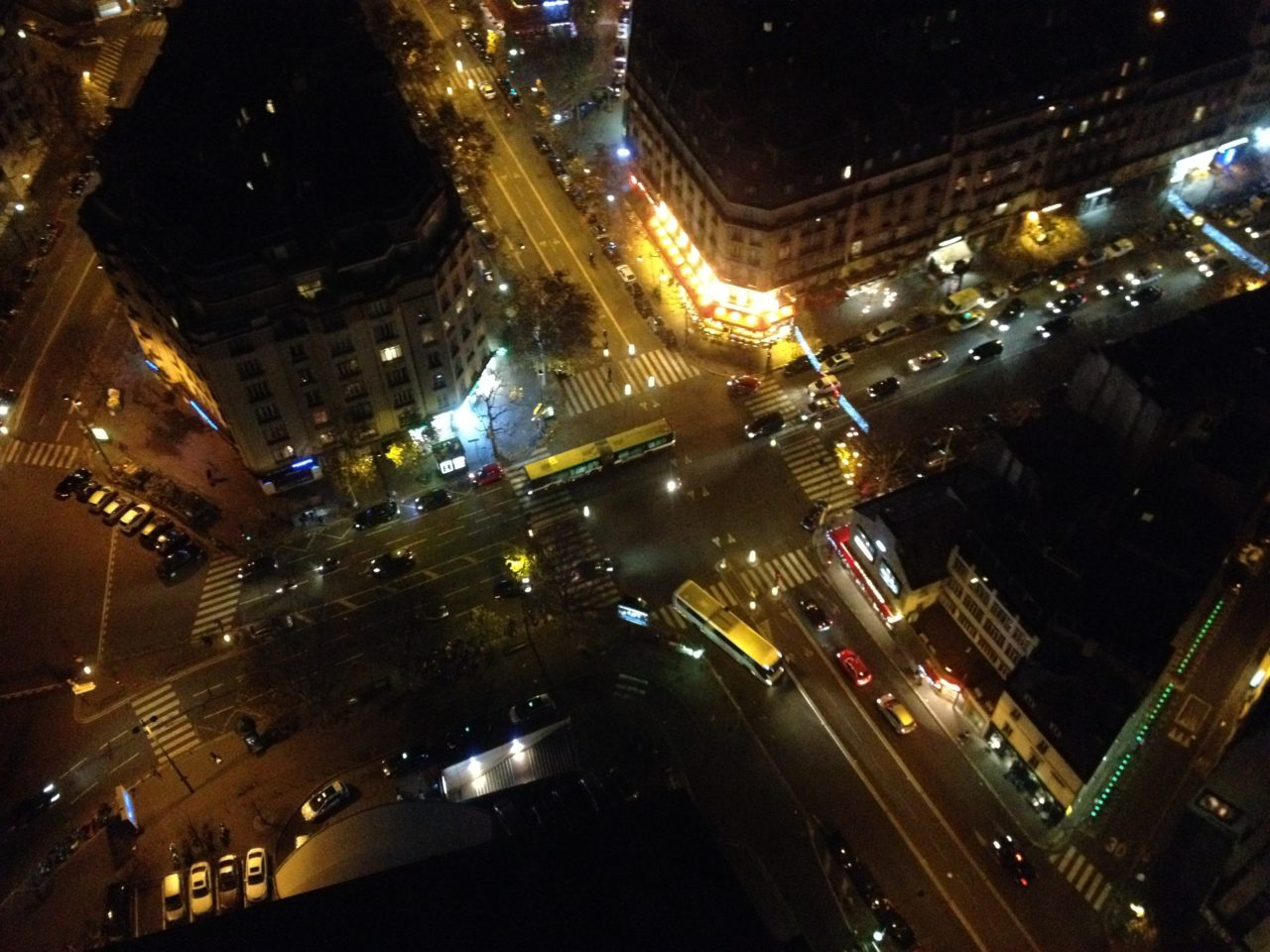 Trafficked intersection In The French Capital Paris A Winter Evening