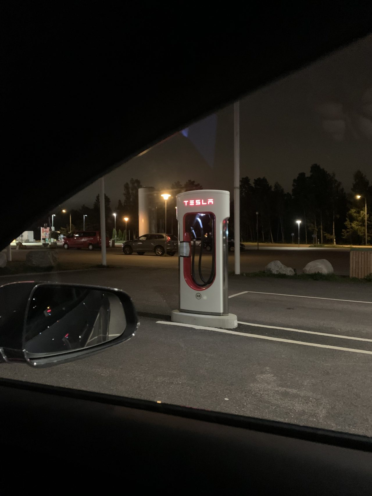 Tesla Supercharger Station Stall From Inside Tesla Car