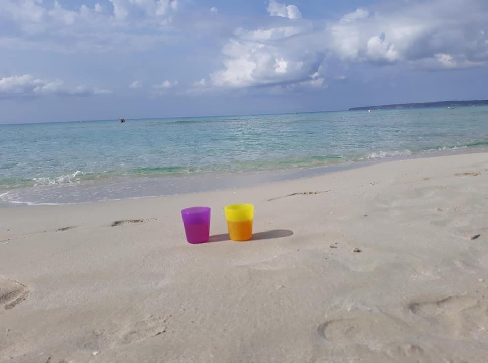 Chill And Wine In Plastic Mugs On White Sandy Beach In Spain