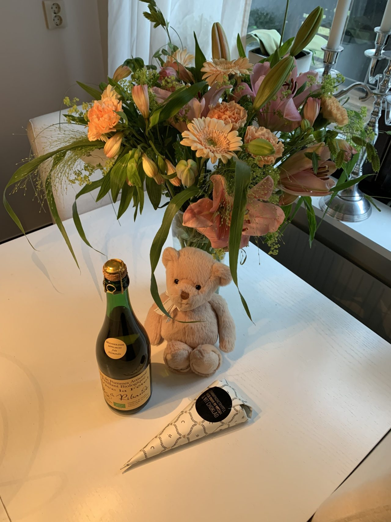 Birthday Flowers With Cider Bunny And Candy