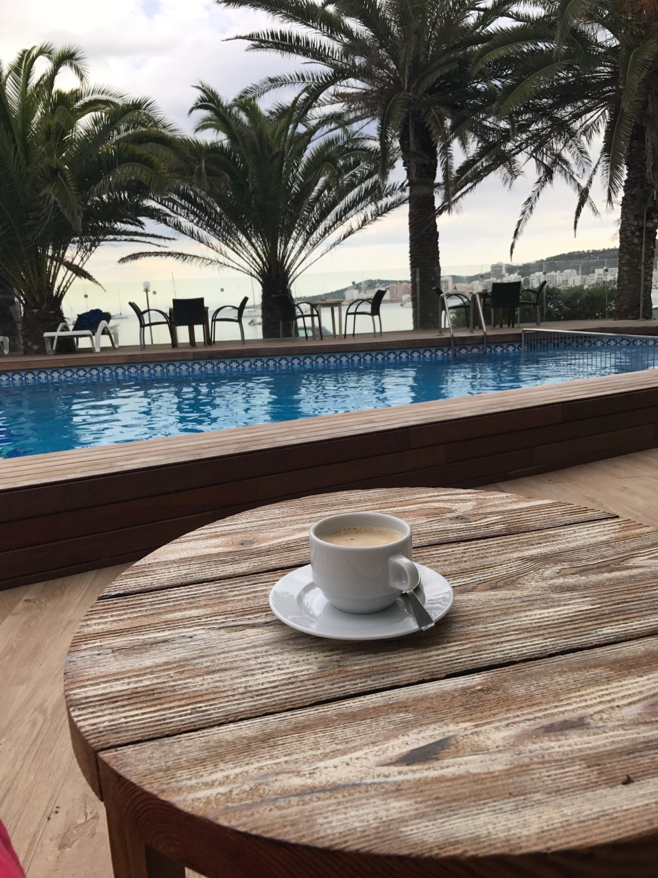 Coffee At Poolside In The Morning