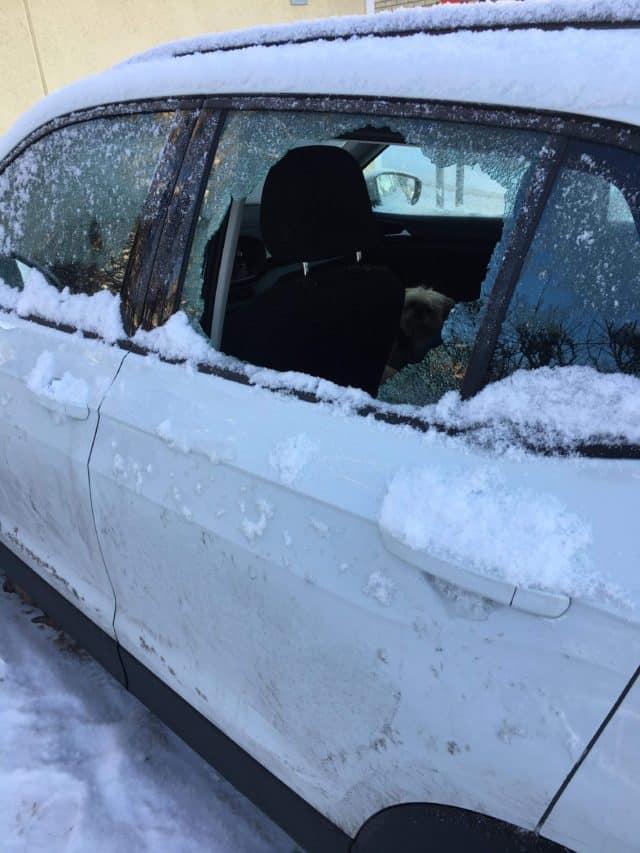 Broken Window On A Car In The Winter