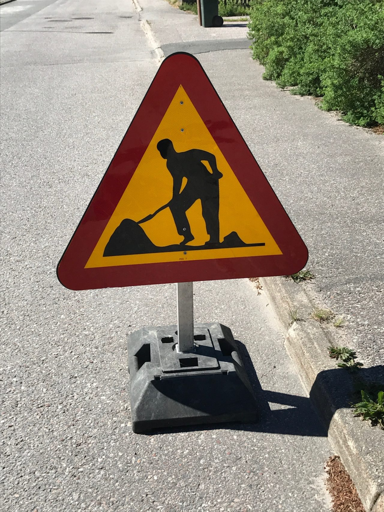 Construction Work Triangle Roadside Sign