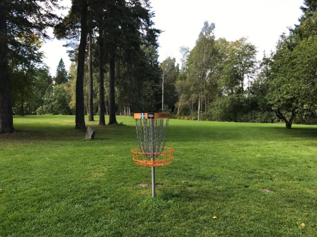 Disc Golf Catcher On A Grass Playing Field With Trees