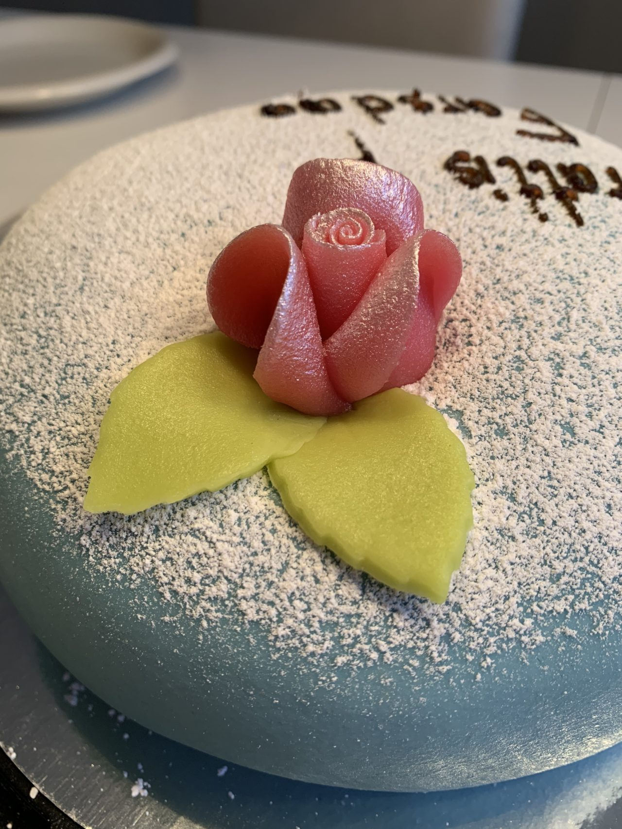Father's Day Cake With A Marzipan Rose