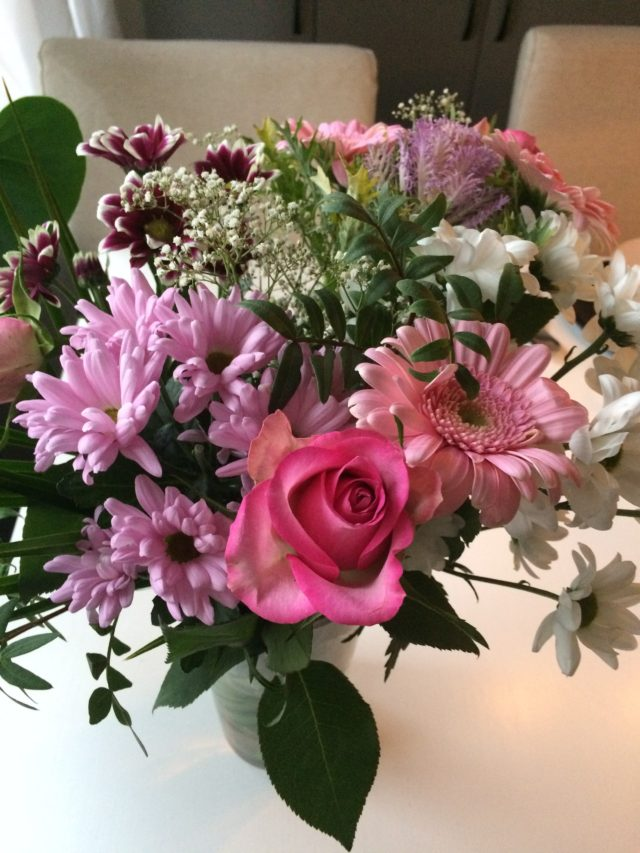 Bouquet Of Pink Rose And White And Purple Flowers