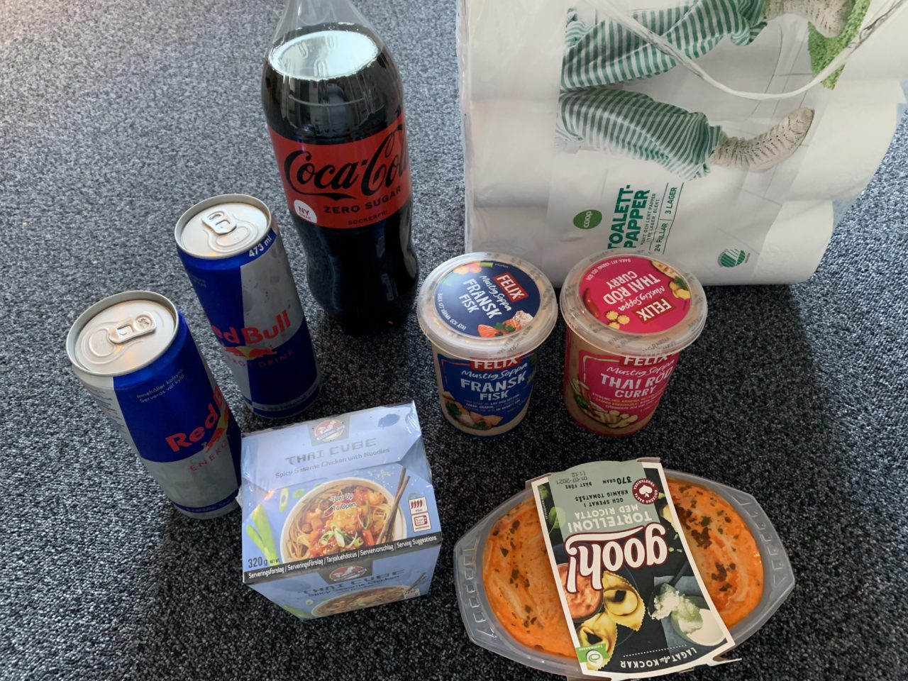 Sodas And Food On A Table After Grocery Shopping