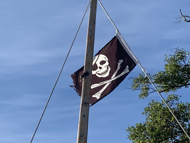 Jolly Roger Flag On Boat Mast In The Wind