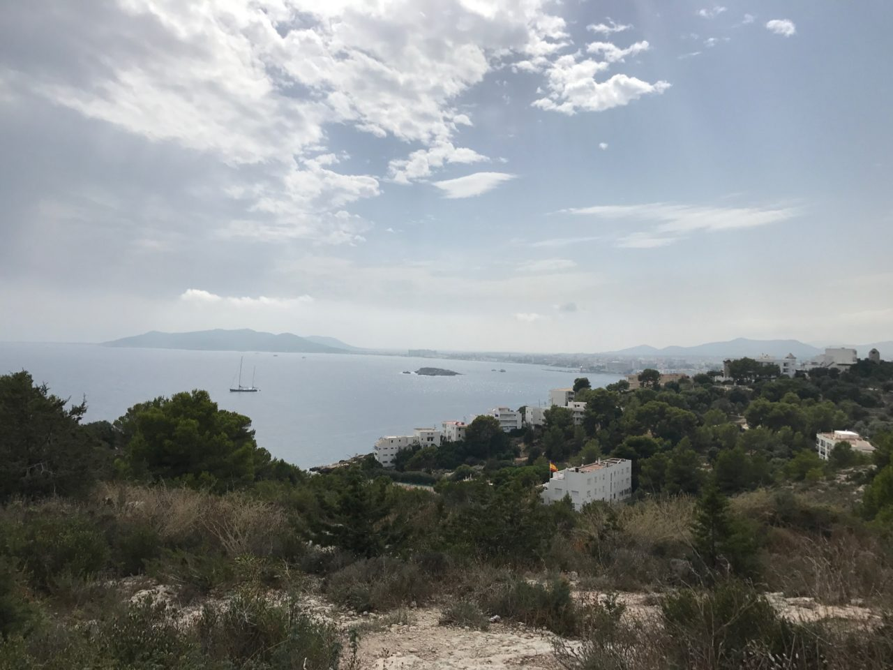 Mountain Top View Of The Ocean And A Few Houses